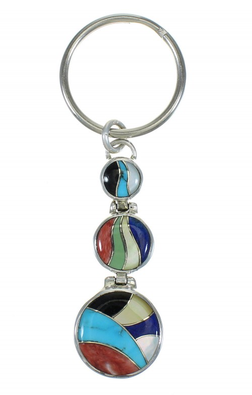 Southwest Sterling Silver Multicolor Inlay Key Chain VX63105