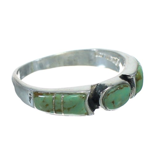 Authentic Sterling Silver And Turquoise Inlay Ring Size 7-1/4 VX64094