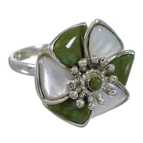 Turquoise Mother Of Pearl Flower Genuine Sterling Silver Southwest Ring Size 5-1/2 QX75823