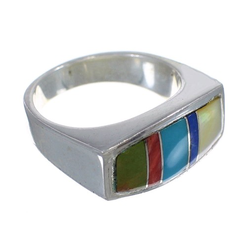 Genuine Sterling Silver Southwest Multicolor Inlay Ring Size 5-3/4 QX75902