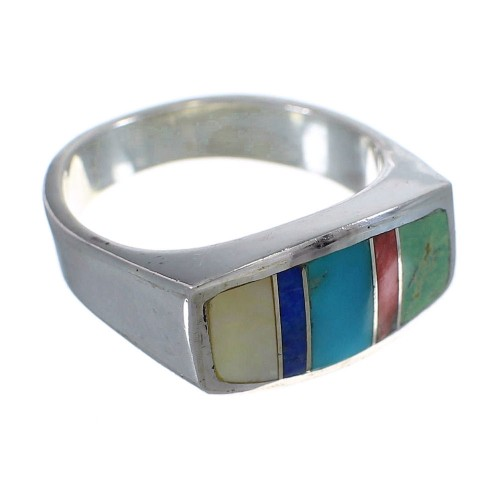 Southwest Multicolor Inlay Sterling Silver Ring Size 8-1/4 QX75906