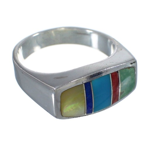 Silver Multicolor Inlay Southwest Ring Size 4-3/4 QX75932