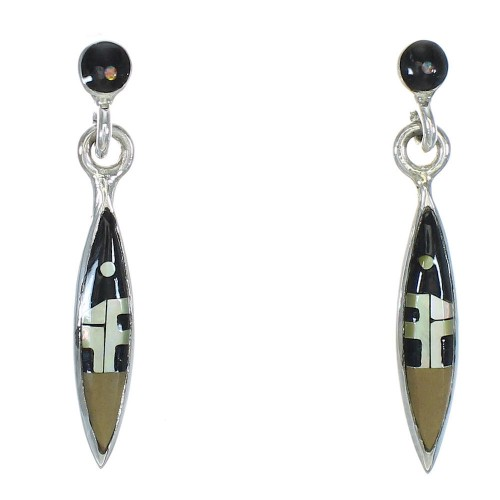 Multicolor Inlay Sterling Silver Native American Village Design Post Dangle Earrings WX78997