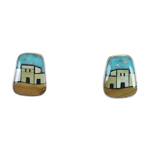 Native American Village Design Silver Multicolor Post Earrings WX79095