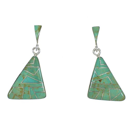 Genuine Sterling Silver Turquoise Inlay Southwest Post Dangle Earrings QX78729