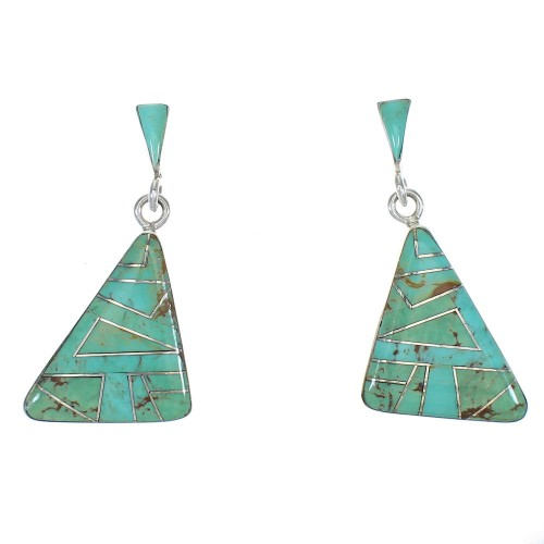 Southwest Turquoise Inlay Silver Post Dangle Earrings QX78734