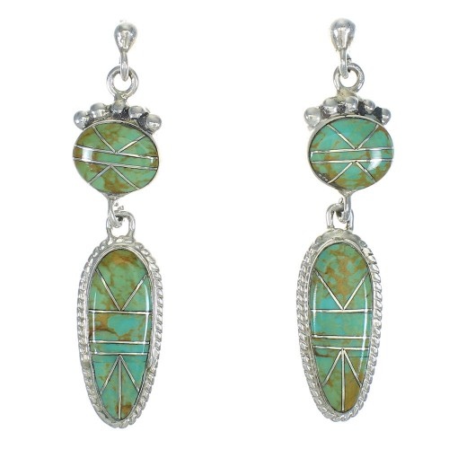 Southwest Turquoise Inlay Sterling Silver Post Dangle Earrings QX78778