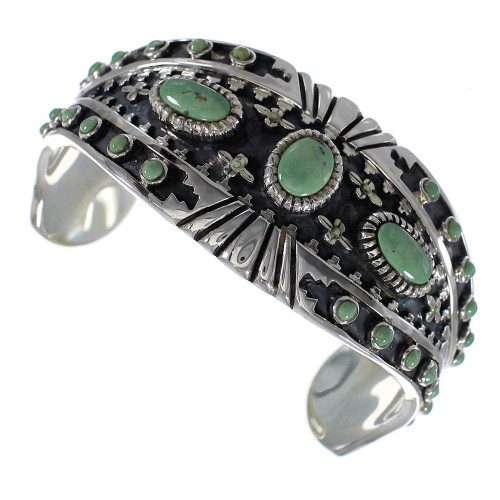 Substantial Sterling Silver Southwest Turquoise Cuff Bracelet Jewelry VX63365