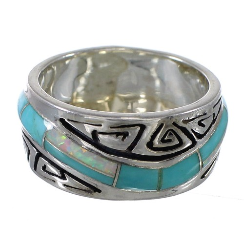 Sterling Silver Turquoise Opal Southwest Water Wave Ring Size 5-1/4 QX82327