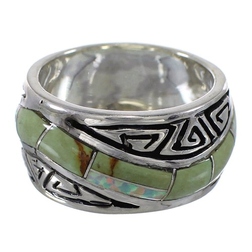 Water Wave Sterling Silver Southwest Turquoise Opal Ring Size 4-1/2 QX82345