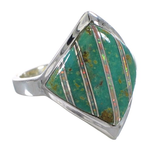 Authentic Sterling Silver Southwest Turquoise Opal Ring Size 4-3/4 QX82454