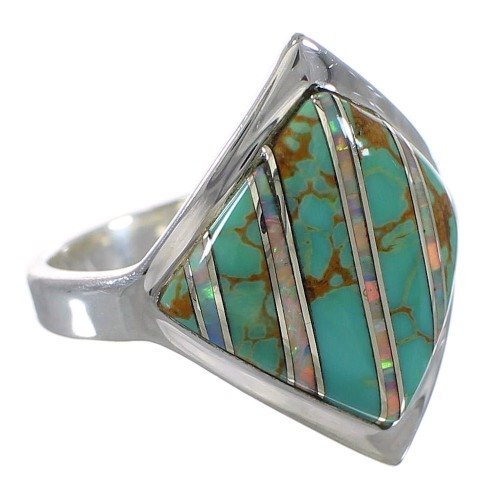 Genuine Sterling Silver Southwest Turquoise Opal Ring Size 6-1/2 QX82460