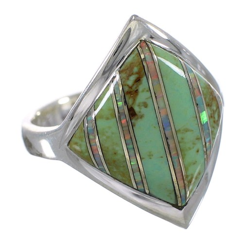 Turquoise Opal Authentic Sterling Silver Southwest Ring Size 5-3/4 QX82540