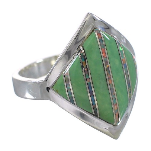 Turquoise Opal Southwest Silver Ring Size 6-1/4 QX82572
