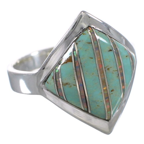 Southwest Turquoise Opal Silver Ring Size 5 QX82604