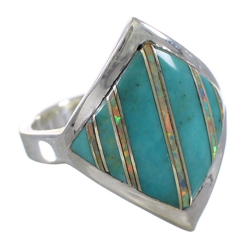 Southwest Turquoise Opal Authentic Sterling Silver Ring Size 5-1/2 QX82616
