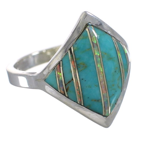 Sterling Silver Turquoise Opal Southwestern Ring Size 8 QX82635