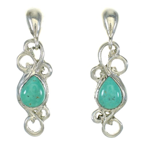 Turquoise Southwest Genuine Sterling Silver Post Dangle Earrings MX64709