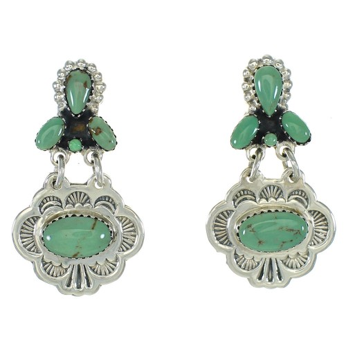 Turquoise Silver Post Dangle Earrings MX64734