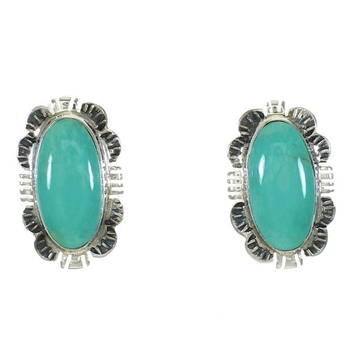 Turquoise Sterling Silver Jewelry Post Earrings MX64751