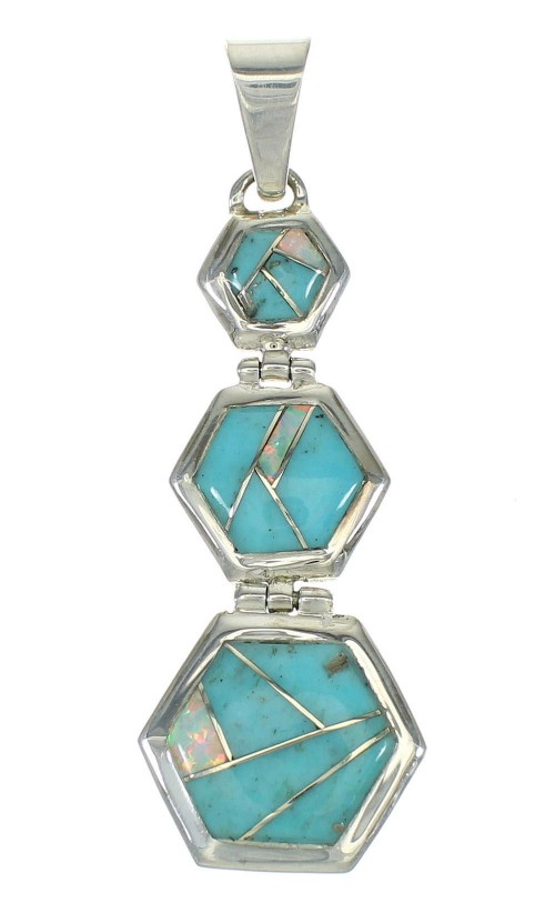 Genuine Sterling Silver Turquoise And Opal Southwest Pendant MX63846