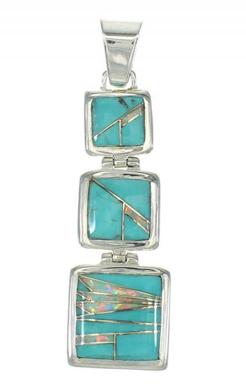 Sterling Silver Opal Turquoise Inlay Pendant MX63853