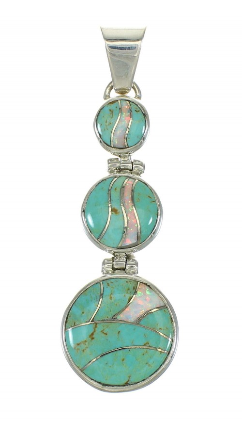 Southwest Sterling Silver Turquoise Opal Inlay Pendant MX63926