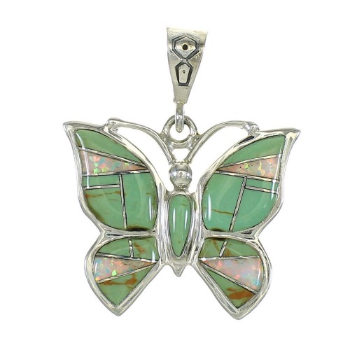 Butterfly Silver Turquoise Opal Southwest Pendant MX63936