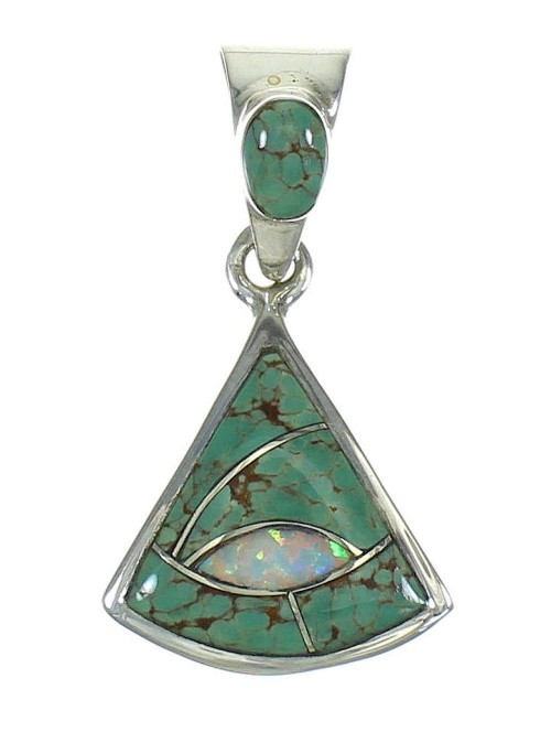 Sterling Silver Turquoise And Opal Southwest Jewelry Pendant MX63965