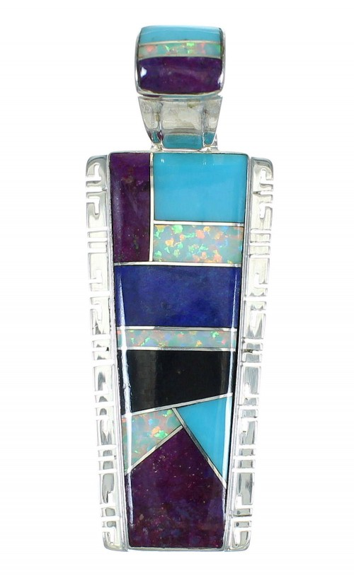 Southwestern Multicolor Inlay And Sterling Silver Pendant WX63675