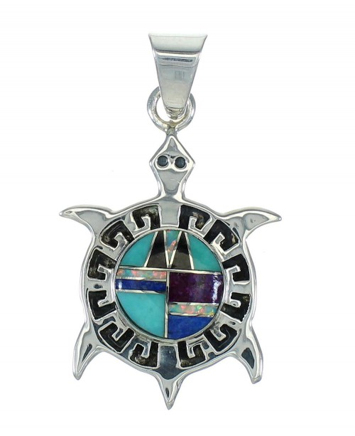 Multicolor Inlay Turtle Southwest Sterling Silver Pendant WX63711