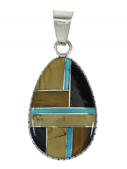 Southwest Multicolor Inlay And Authentic Sterling Silver Slide Pendant WX63892