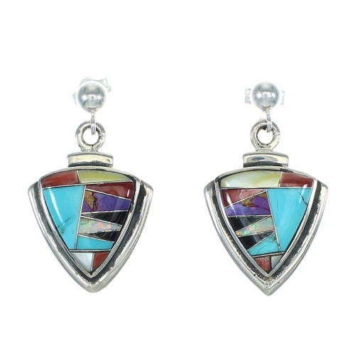 Sterling Silver Multicolor Inlay Southwest Post Dangle Earrings MX64501