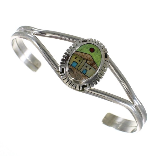 Sterling Silver And Multicolor Inlay Native American Village Design Cuff Bracelet VX63941