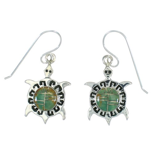 Turquoise Inlay Silver Turtle Hook Dangle Earrings AX78608