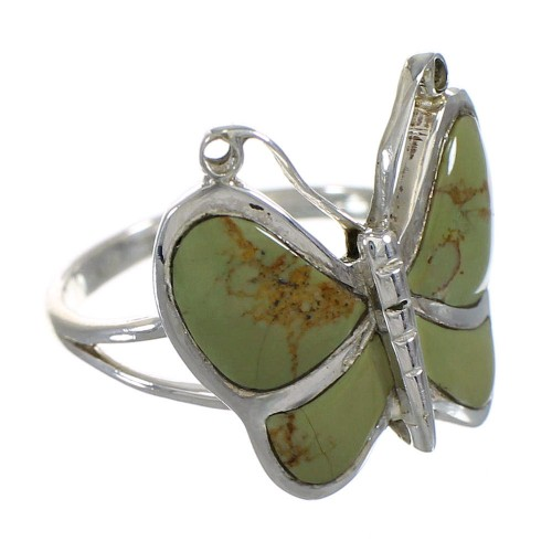 Turquoise Silver Southwestern Butterfly Ring Size 7-1/4 YX80129