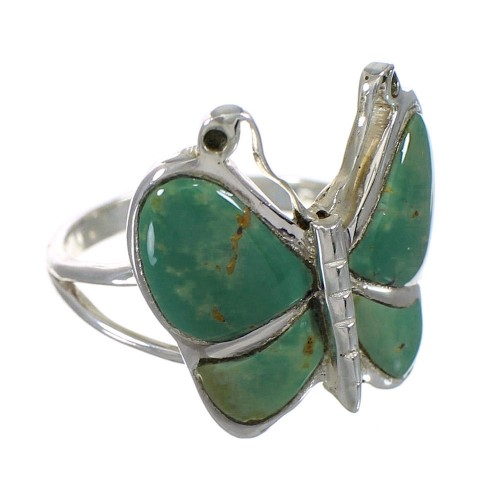 Southwest Silver Turquoise Butterfly Ring Size 5-1/2 YX80153
