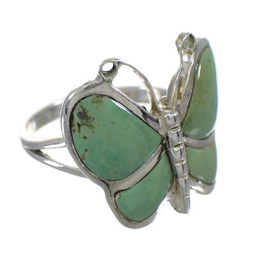Southwest Turquoise Sterling Silver Butterfly Ring Size 7 YX80198