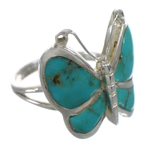 Southwestern Turquoise Sterling Silver Butterfly Ring Size 4-1/2 YX80199