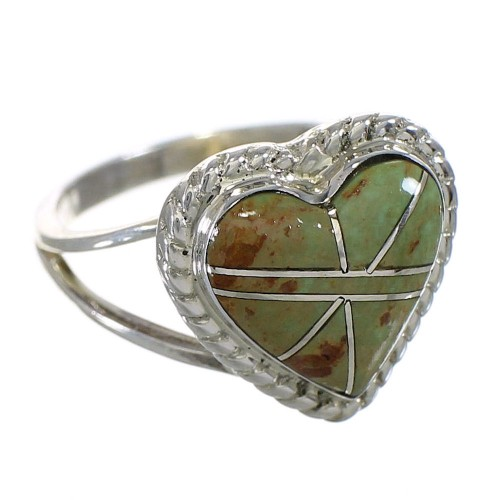 Southwest Turquoise Sterling Silver Heart Ring Size 5-1/2 YX80239