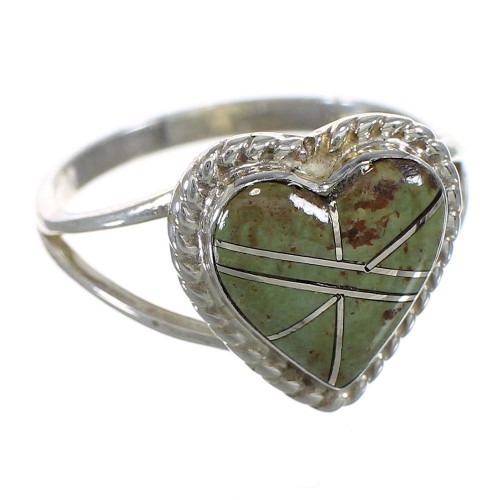 Southwestern Turquoise And Silver Heart Ring Size 5-1/2 YX80246