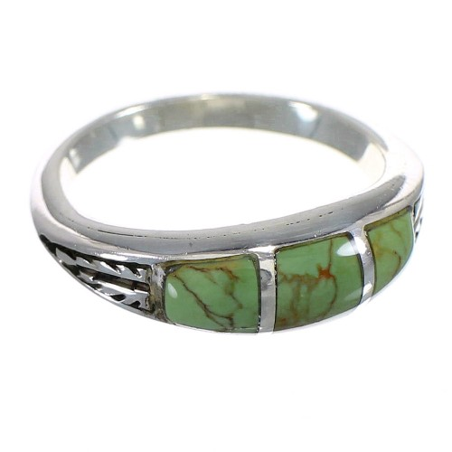 Southwestern Silver Turquoise Inlay Ring Size 7-1/2 YX80340