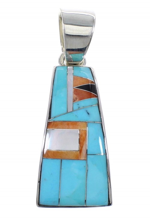 Sterling Silver And Multicolor Inlay Southwest Pendant VX64486