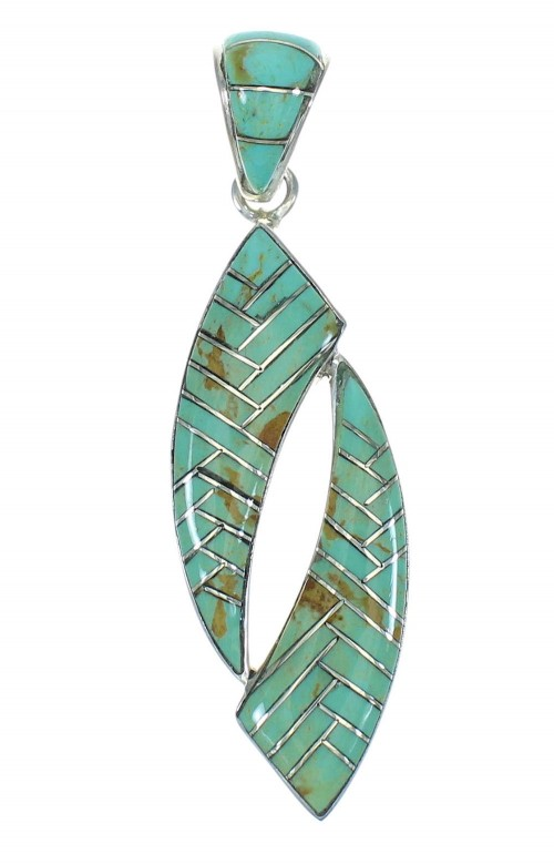 Turquoise Inlay Sterling Silver Pendant MX65163