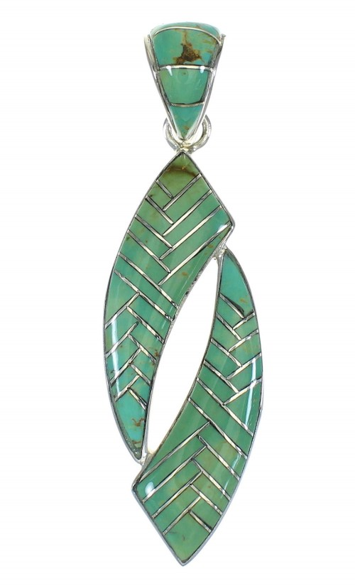 Sterling Silver Southwest Turquoise Inlay Pendant MX65169