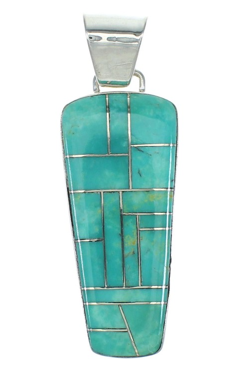 Turquoise Sterling Silver Southwest Jewelry Pendant MX65181