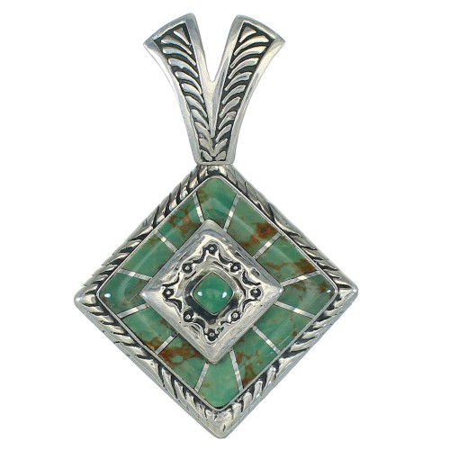 Silver Turquoise Inlay Southwest Pendant MX65203