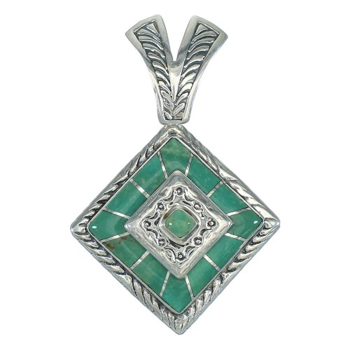 Southwest Turquoise Inlay Silver Jewelry Pendant MX65207