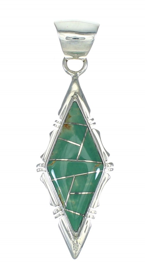 Southwest Genuine Sterling Silver And Turquoise Pendant MX65286