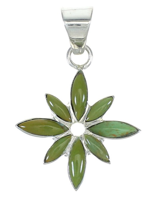 Flower Silver Turquoise Inlay Pendant MX65362